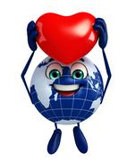 globe character with red heart - stock illustration