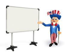 uncle sam with display board - stock illustration