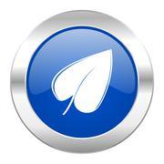 leaf blue circle chrome web icon isolated. - stock illustration