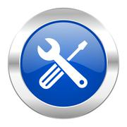 tools blue circle chrome web icon isolated. - stock illustration