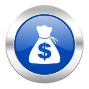 money blue circle chrome web icon isolated. - stock illustration