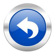 back blue circle chrome web icon isolated. - stock illustration