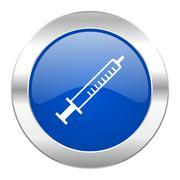 Medicine blue circle chrome web icon isolated. Stock Illustration