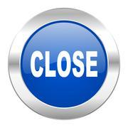 close blue circle chrome web icon isolated. - stock illustration