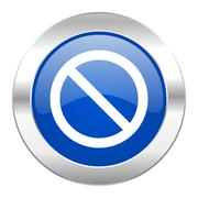 Access denied blue circle chrome web icon isolated. Stock Illustration