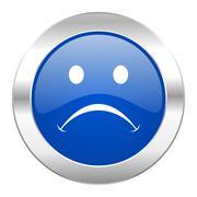 cry blue circle chrome web icon isolated. - stock illustration
