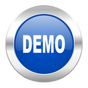 demo blue circle chrome web icon isolated. - stock illustration