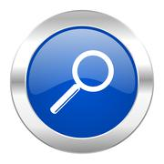 search blue circle chrome web icon isolated. - stock illustration
