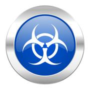 biohazard blue circle chrome web icon isolated. - stock illustration