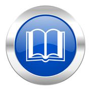 book blue circle chrome web icon isolated. - stock illustration