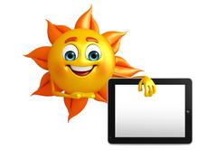 Sun character with tab Stock Illustration