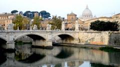Ponte Vittorio Emmanuel II Tiber bridge San Pietro Cathedral Italy Rome Vatican Stock Footage