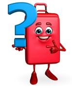 Travelling bag chatacter with question mark sign Stock Illustration
