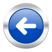 left arrow blue circle chrome web icon isolated. - stock illustration