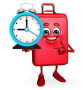 Travelling bag chatacter with table clock Stock Illustration