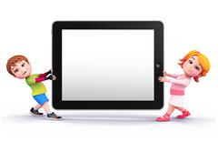 cute kids with tab - stock illustration