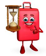 Travelling bag chatacter with sand clock Stock Illustration
