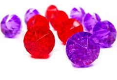 Red ruby and amethyst gem stones crystals Stock Photos