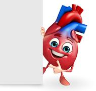 Heart character with sign Stock Illustration