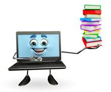 laptop character with books pile - stock illustration