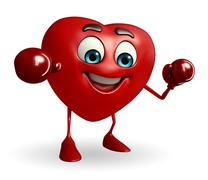Heart shape character with boxing gloves Stock Illustration