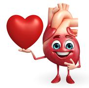 heart character with red heart - stock illustration