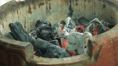 Lowing charcoal background, selective focus Stock Footage