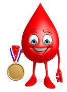 blood drop character with gold medal - stock illustration
