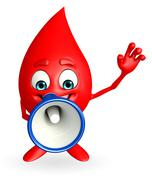 Blood drop character with loudspeaker Stock Illustration