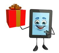 tab character with gift box - stock illustration