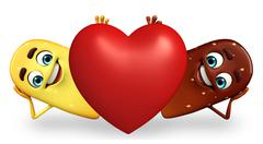 candy character with red heart - stock illustration