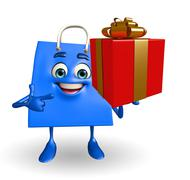 shopping bag character with gift box - stock illustration
