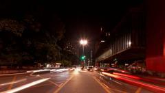 Zoom out Avenida Paulista near Museum of Art MASP time lapse Sao Paulo Brazil Stock Footage