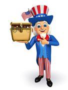 uncle sam with  treasure box - stock illustration
