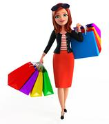 Young corporate lady with shopping bags Stock Illustration