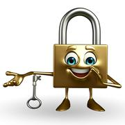 Lock character with key Stock Illustration