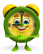 Table clock character with promise pose Stock Illustration