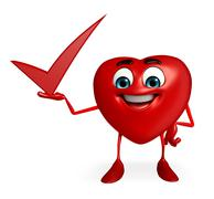 Heart shape character with right sign Stock Illustration