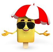 candy character with umbrella - stock illustration