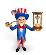 uncle sam with sand clock - stock illustration