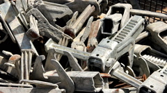 Scrap metal on the construction site Stock Footage