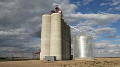 Grain elevator with dramatic time lapse clouds. Saskatchewan, Canada. Stock Footage