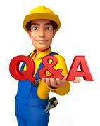 Young mechanic with q & a sign Stock Illustration
