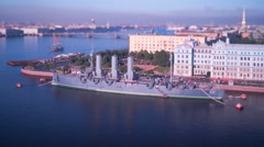 Russian cruiser Aurora. Saint Petersburg Stock Footage