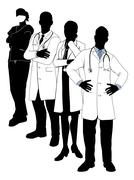 Medical team silhouettes Piirros