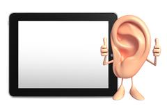 ear character with tab - stock illustration