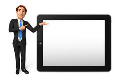 young business man with tab - stock illustration