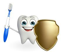 Teeth character with shield Stock Illustration
