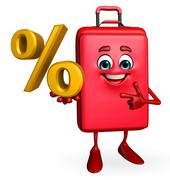 Travelling bag chatacter with percentage Stock Illustration