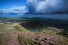 Beautiful landscape of brecon beacons national park with moody sky Stock Photos